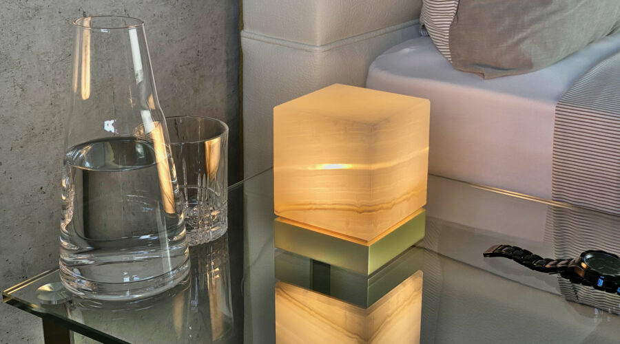 Onyx Designer Lamp ITSU One Solo next to a bed